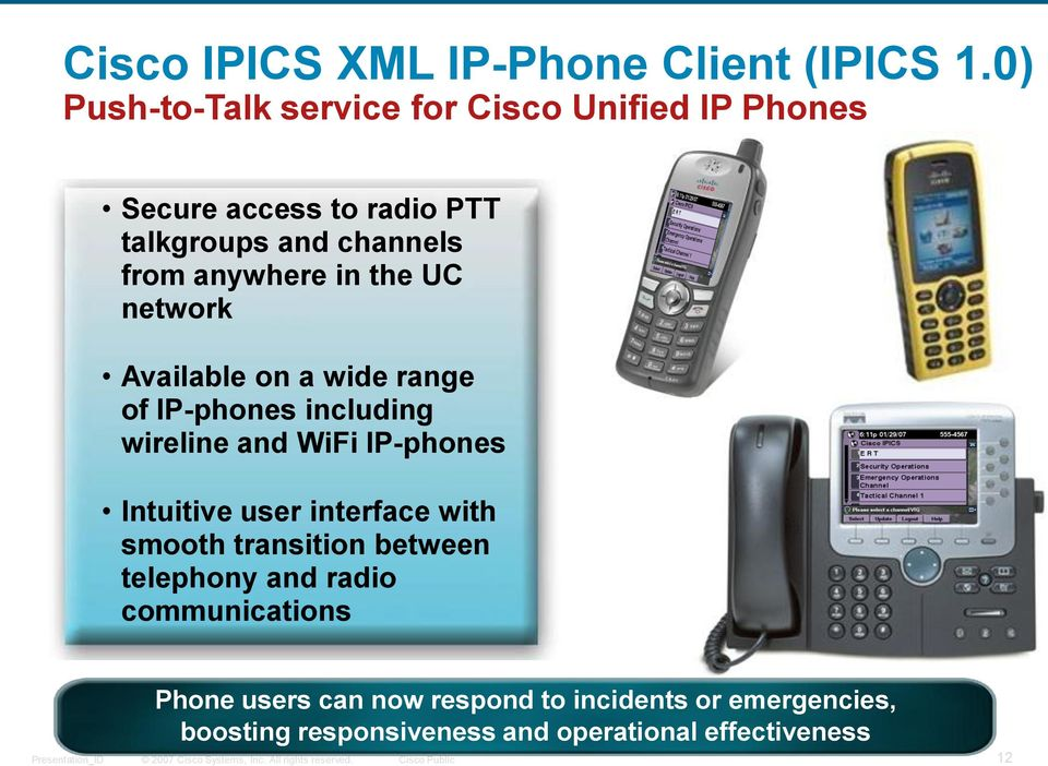 anywhere in the UC network Available on a wide range of IP-phones including wireline and WiFi IP-phones Intuitive
