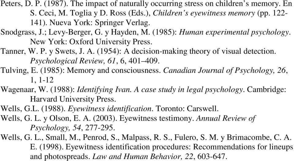Psychological Review, 61, 6, 401 409. Tulving, E. (1985): Memory and consciousness. Canadian Journal of Psychology, 26, 1, 1-12 Wagenaar, W. (1988): Identifying Ivan. A case study in legal psychology.