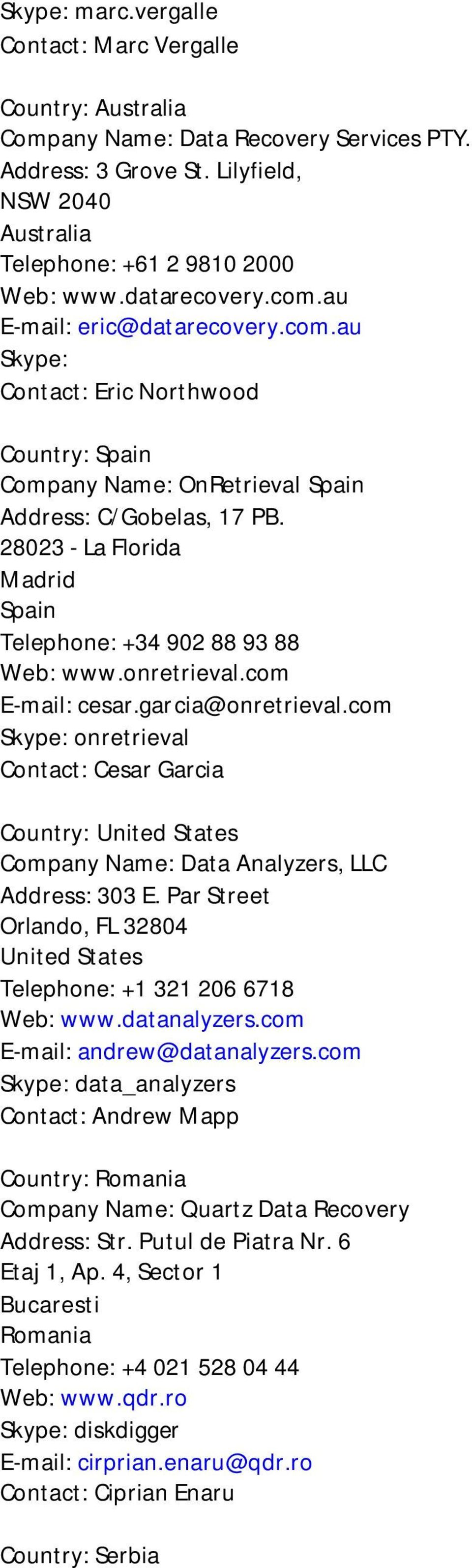28023 - La Florida Madrid Spain Telephone: +34 902 88 93 88 Web: www.onretrieval.com E-mail: cesar.garcia@onretrieval.