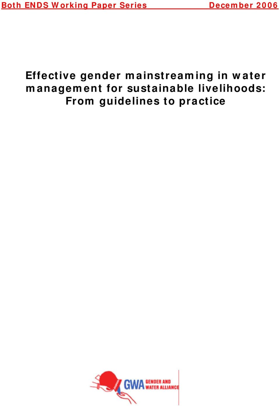 mainstreaming in water management for