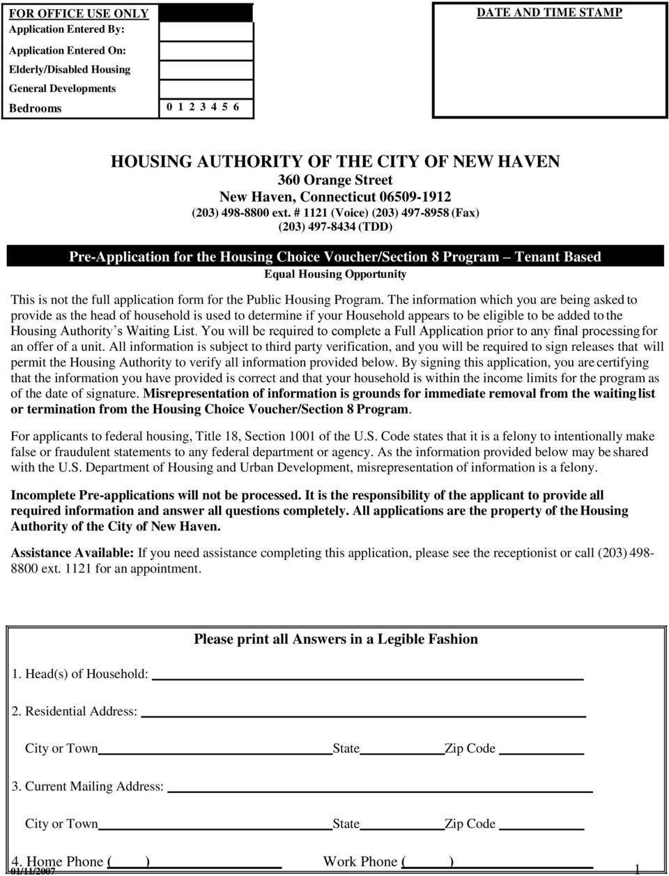 # 1121 (Voice) (203) 497-8958 (Fax) (203) 497-8434 (TDD) Pre-Application for the Housing Choice Voucher/Section 8 Program Tenant Based Equal Housing Opportunity This is not the full application form