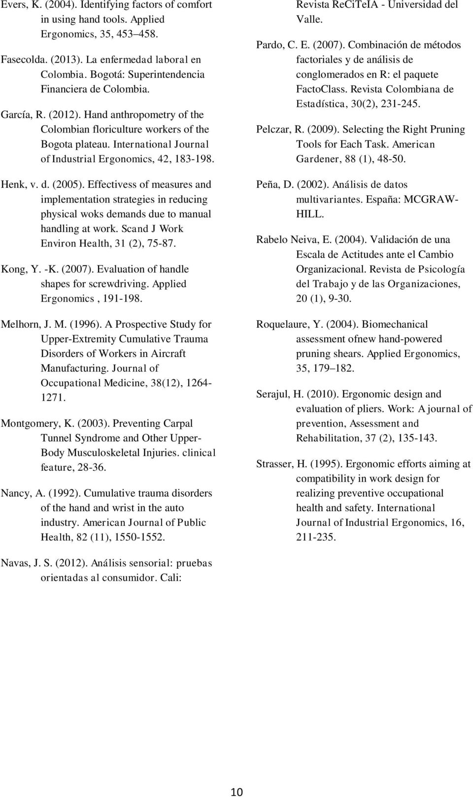 International Journal of Industrial Ergonomics, 42, 183-198. Henk, v. d. (2005). Effectivess of measures and implementation strategies in reducing physical woks demands due to manual handling at work.