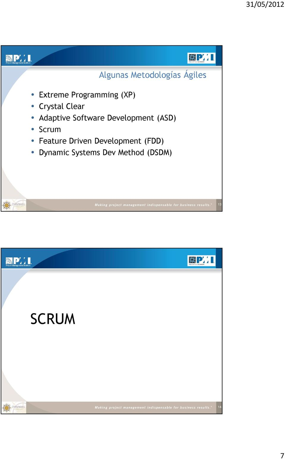 Development (ASD) Scrum Feature Driven