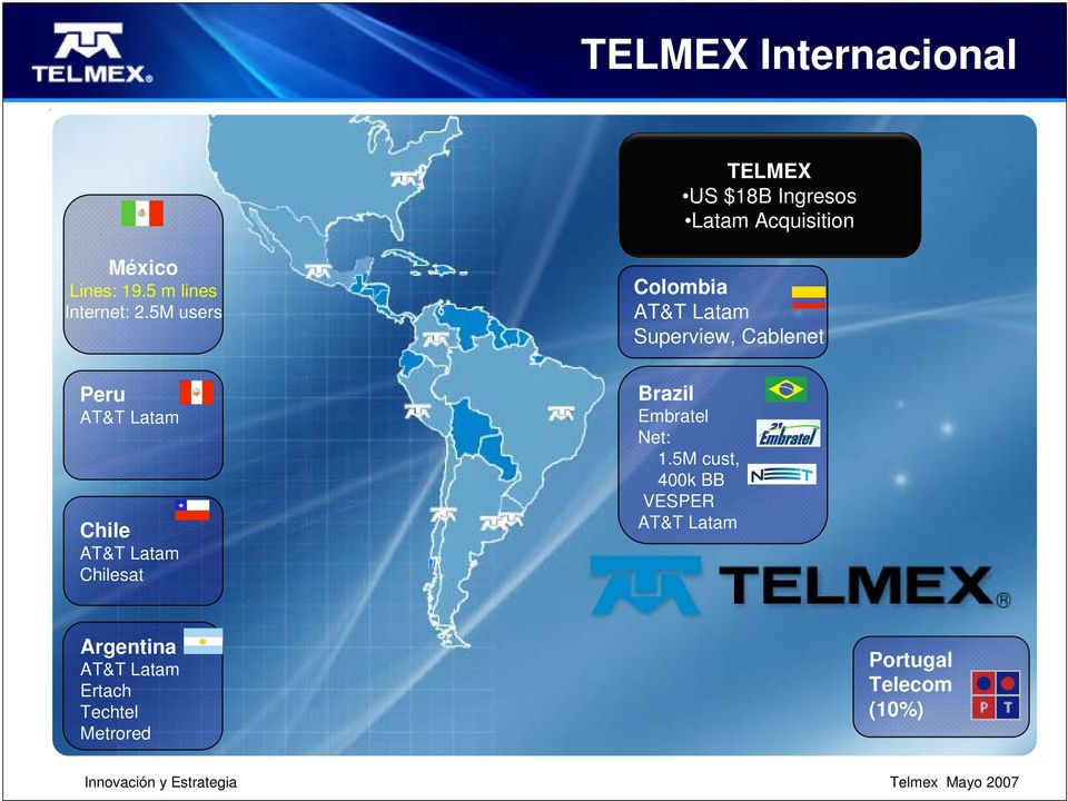 5M users Colombia AT&T Latam Superview, Cablenet Peru AT&T Latam Chile AT&T