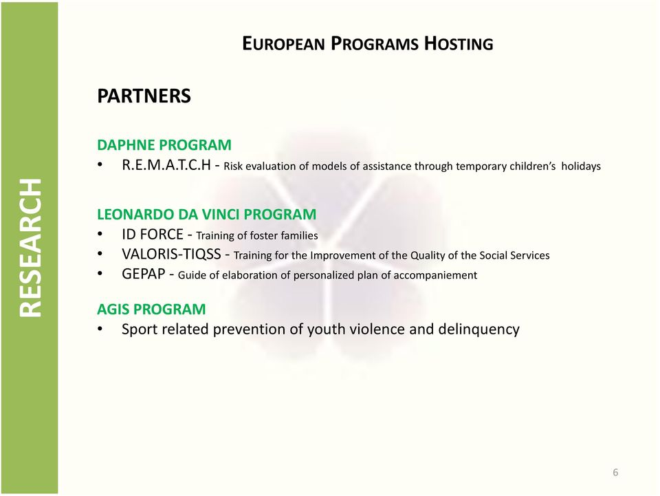 PROGRAM ID FORCE - Training of foster families VALORIS-TIQSS - Training for the Improvement of the Quality of