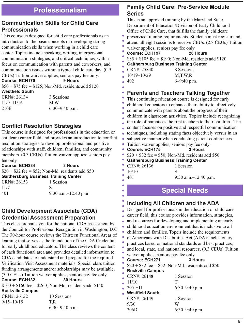 Topics include speaking, writing, interpersonal communication strategies, and critical techniques, with a focus on communication with parents and coworkers, and communication issues within a typical