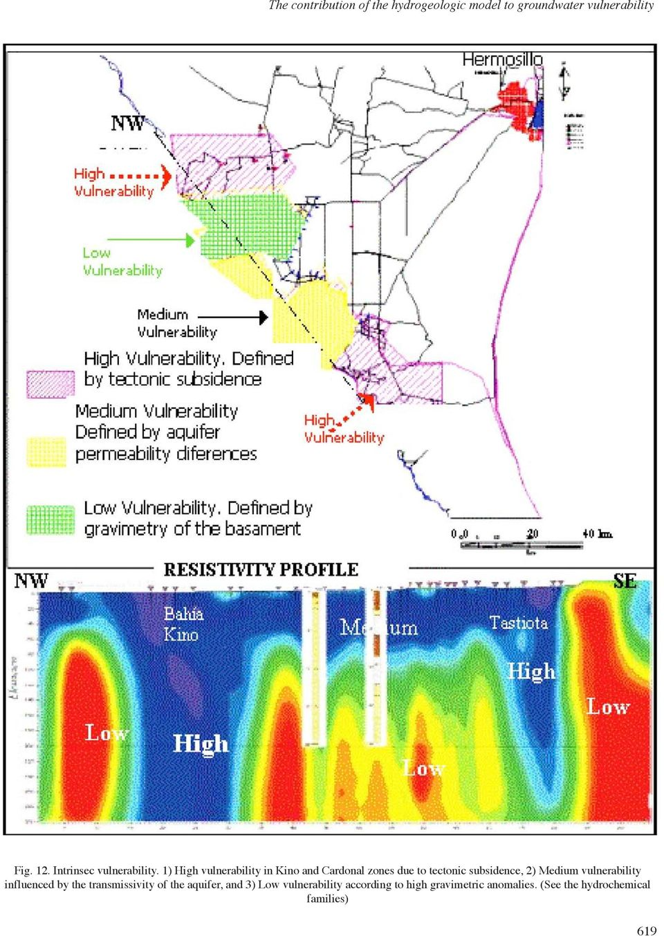 1) High vulnerability in Kino and Cardonal zones due to tectonic subsidence, 2) Medium