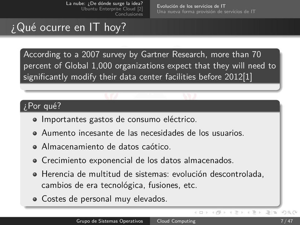 organizations expect that they will need to significantly modify their data center facilities before 2012[1] Por qué? Importantes gastos de consumo eléctrico.