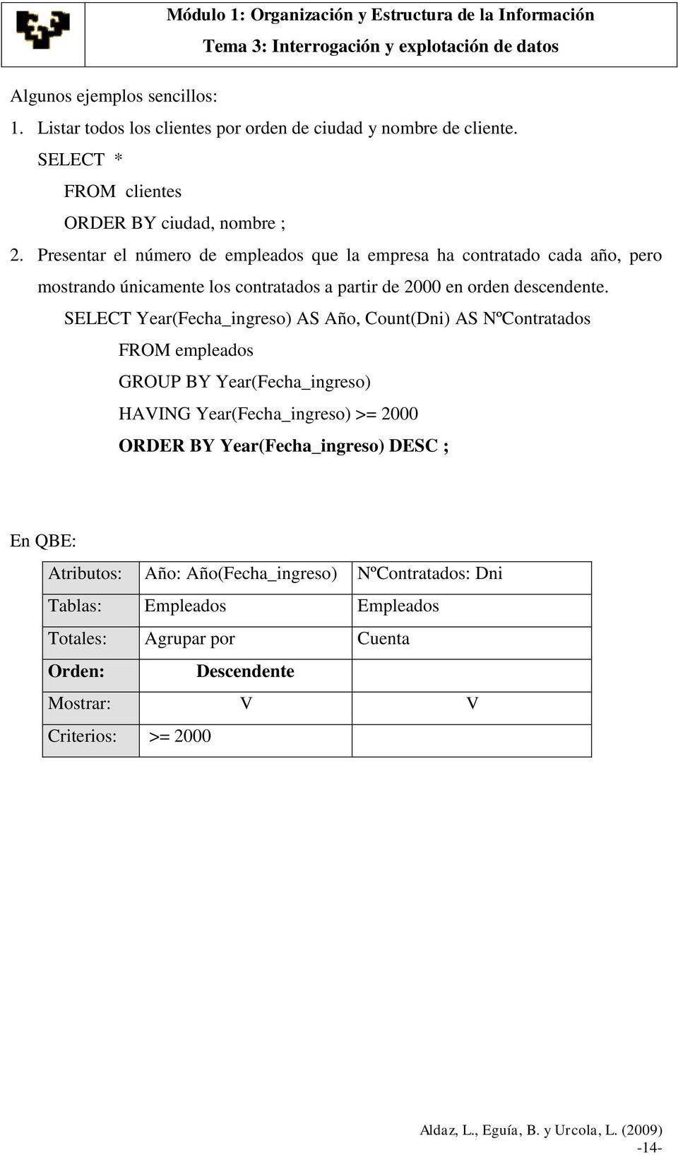 SELECT Year(Fecha_ingreso) AS Año, Count(Dni) AS NºContratados FROM empleados GROUP BY Year(Fecha_ingreso) HAVING Year(Fecha_ingreso) >= 2000 ORDER BY