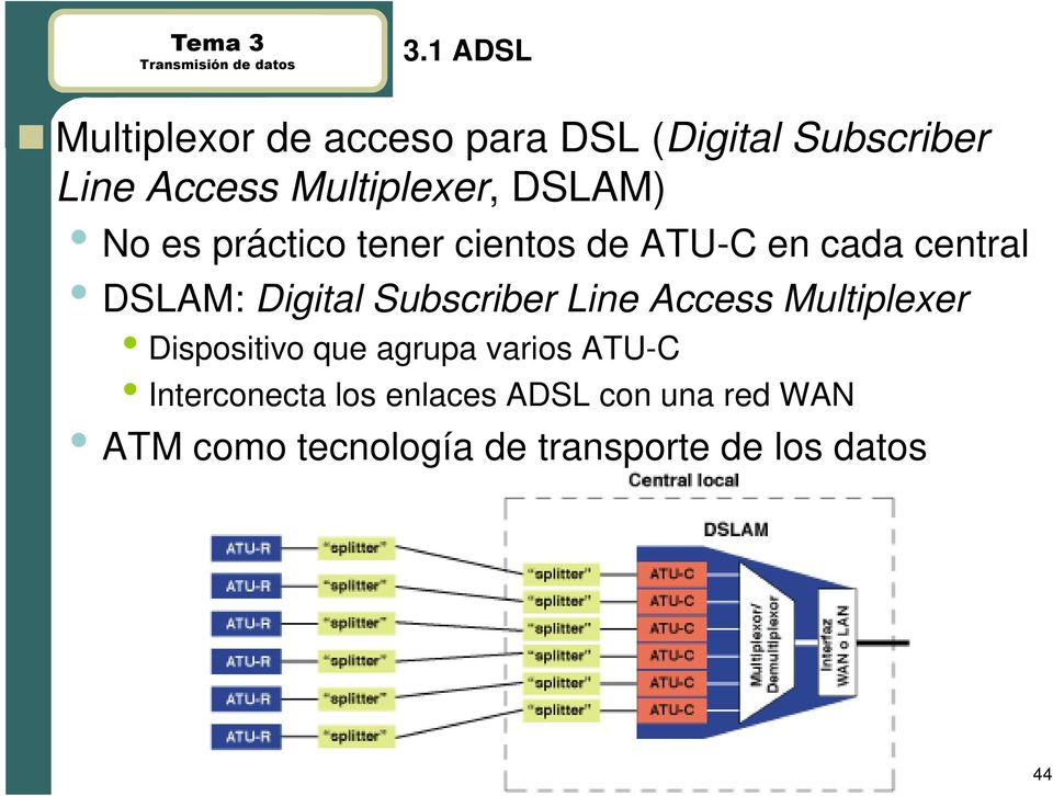Digital Subscriber Line Access Multiplexer Dispositivo que agrupa varios ATU-C
