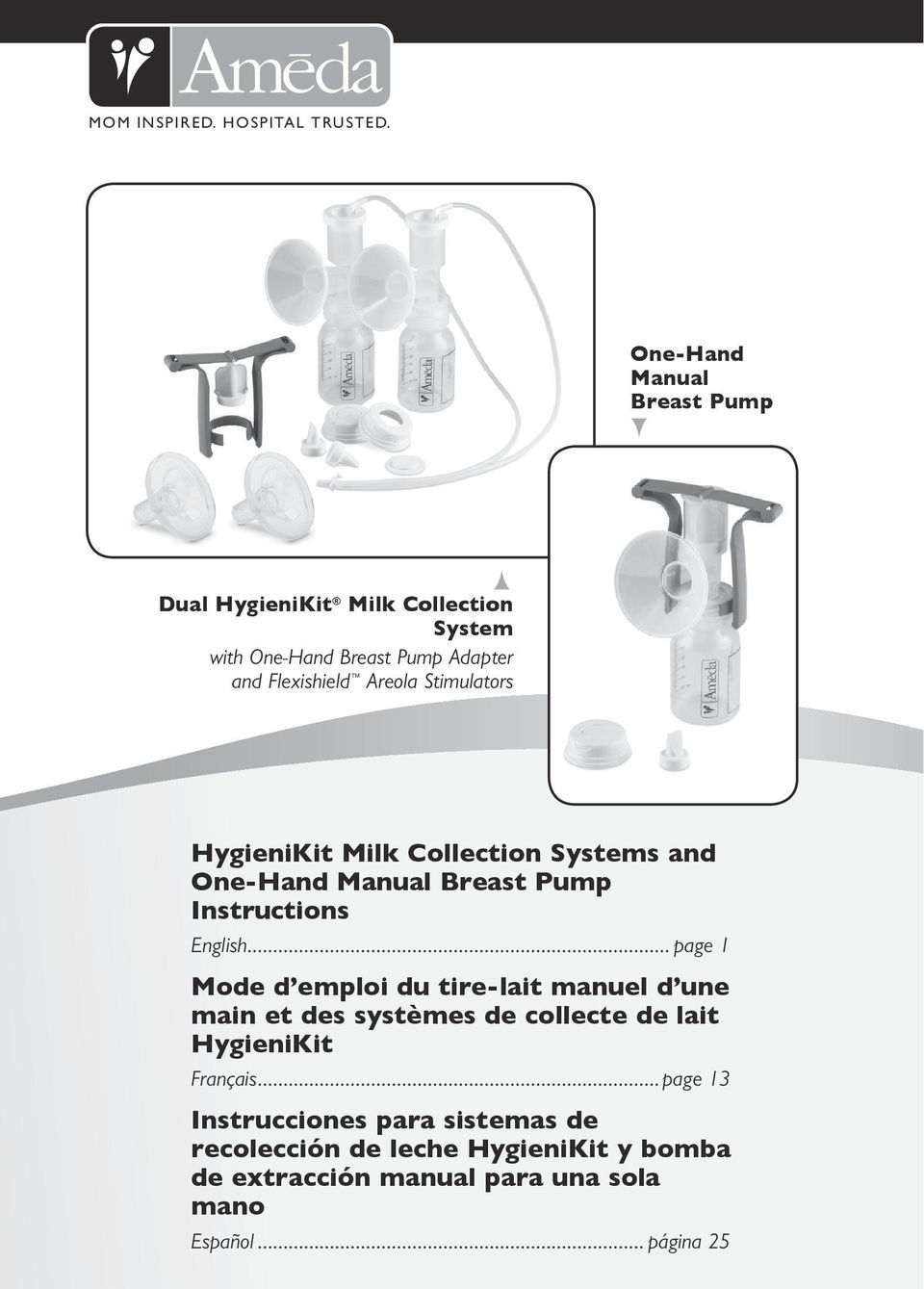 Stimulators HygieniKit Milk Collection Systems and One-Hand Manual Breast Pump Instructions English.