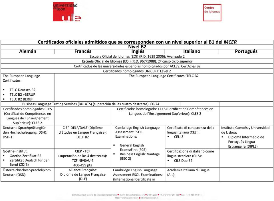 967/1988): 2º curso ciclo superior Certificados de las universidades españolas homologados por ACLES: CertAcles B2 The European Language Certificates: Certificados homologados UNICERT: Level 2 The