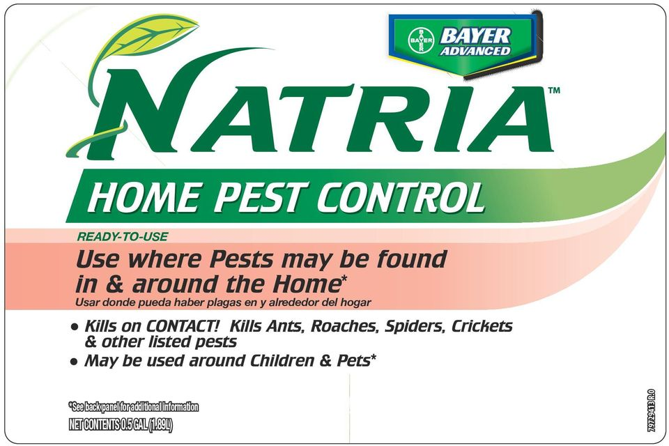 Kills Ants, Roaches, Spiders, Crickets & other listed pests May be used around