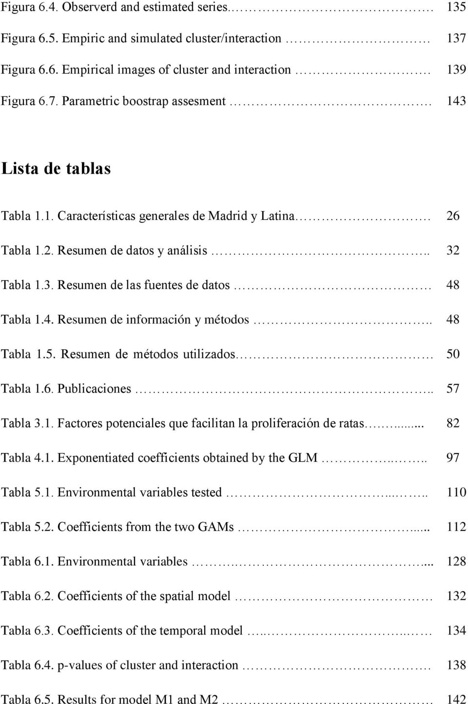 . 48 Tabla 1.5. Resumen de métodos utilizados.. Tabla 1.6. Publicaciones.. 57 50 Tabla 3.1. Factores potenciales que facilitan la proliferación de ratas.... 82 Tabla 4.1. Exponentiated coefficients obtained by the GLM.