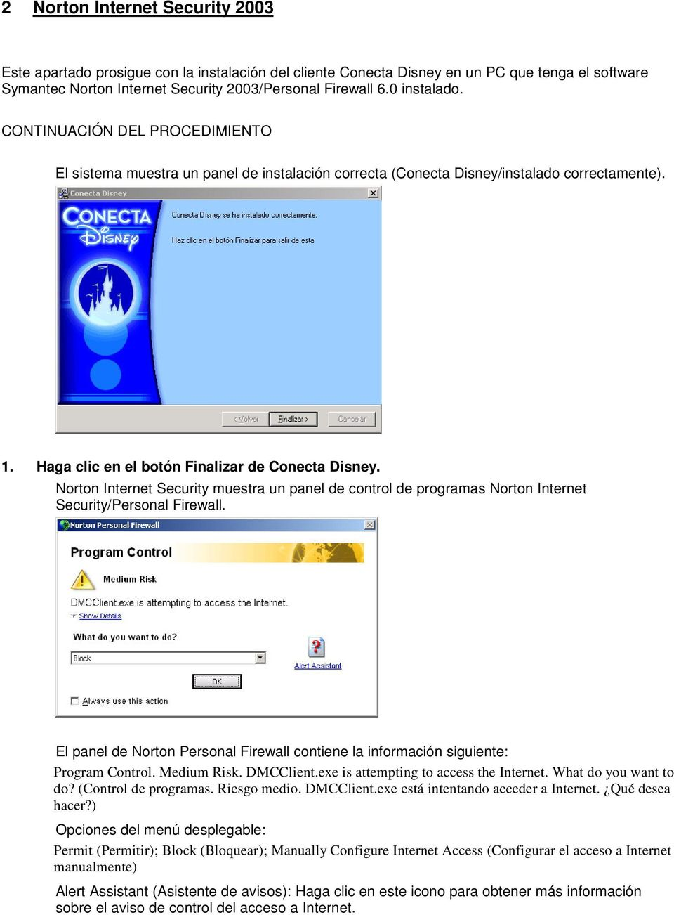 Norton Internet Security muestra un panel de control de programas Norton Internet Security/Personal Firewall. El panel de Norton Personal Firewall contiene la información siguiente: Program Control.
