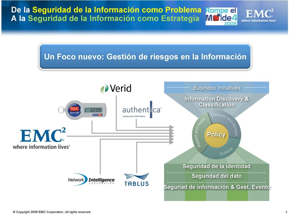 Información Business Initiatives Information Discovery & Classification