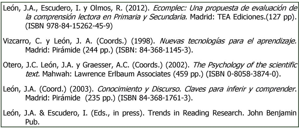 C. (Coords.) (2002). The Psychology of the scientific text. Mahwah: Lawrence Erlbaum Associates (459 pp.) (ISBN 0-8058-3874-0). León, J.A. (Coord.) (2003). Conocimiento y Discurso.