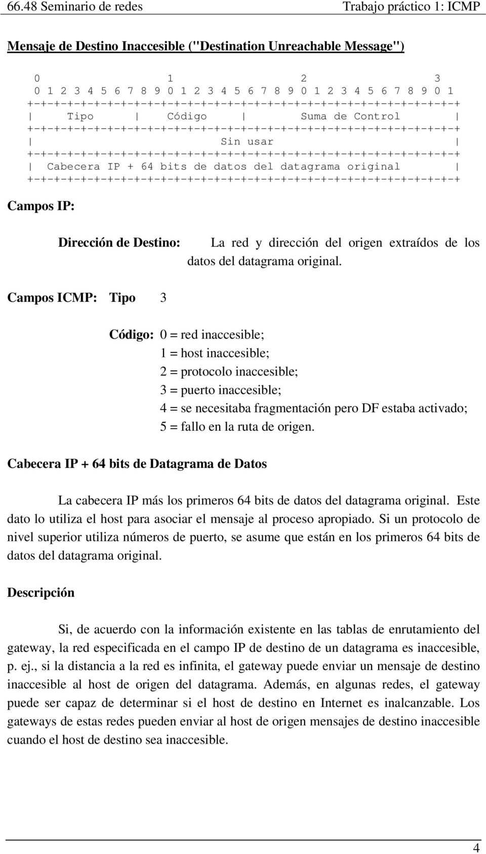 Código: 0 = red inaccesible; 1 = host inaccesible; 2 = protocolo inaccesible; 3 = puerto inaccesible; 4 = se necesitaba fragmentación pero DF estaba activado; 5 = fallo en la ruta de origen.