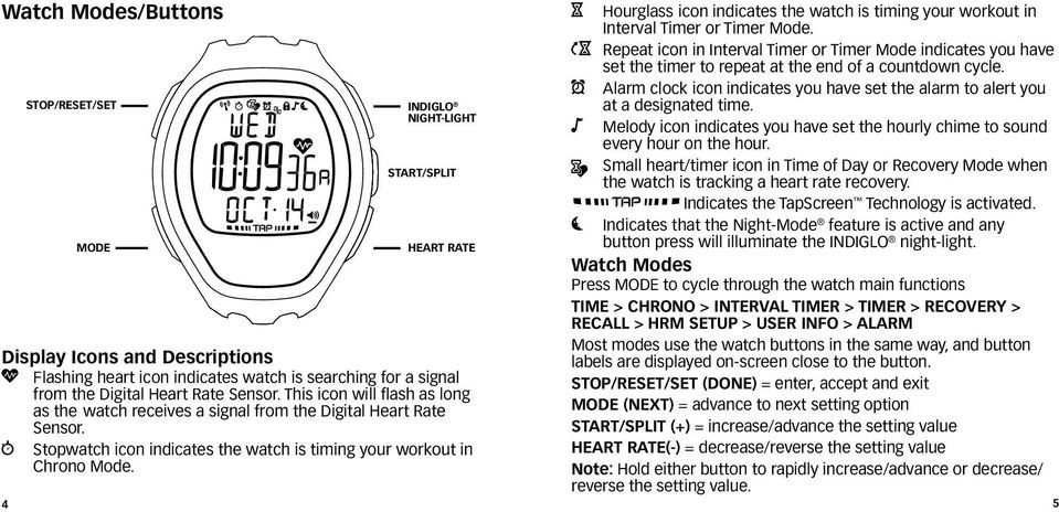 H Hourglass icon indicates the watch is timing your workout in Interval Timer or Timer Mode.