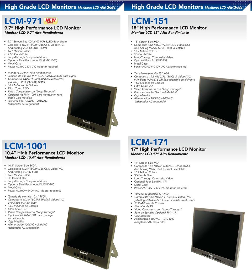 7 Alto Rendimiento High Grade LCD Monitors Monitores LCD Alto Grado LCM-151 15 High Performance