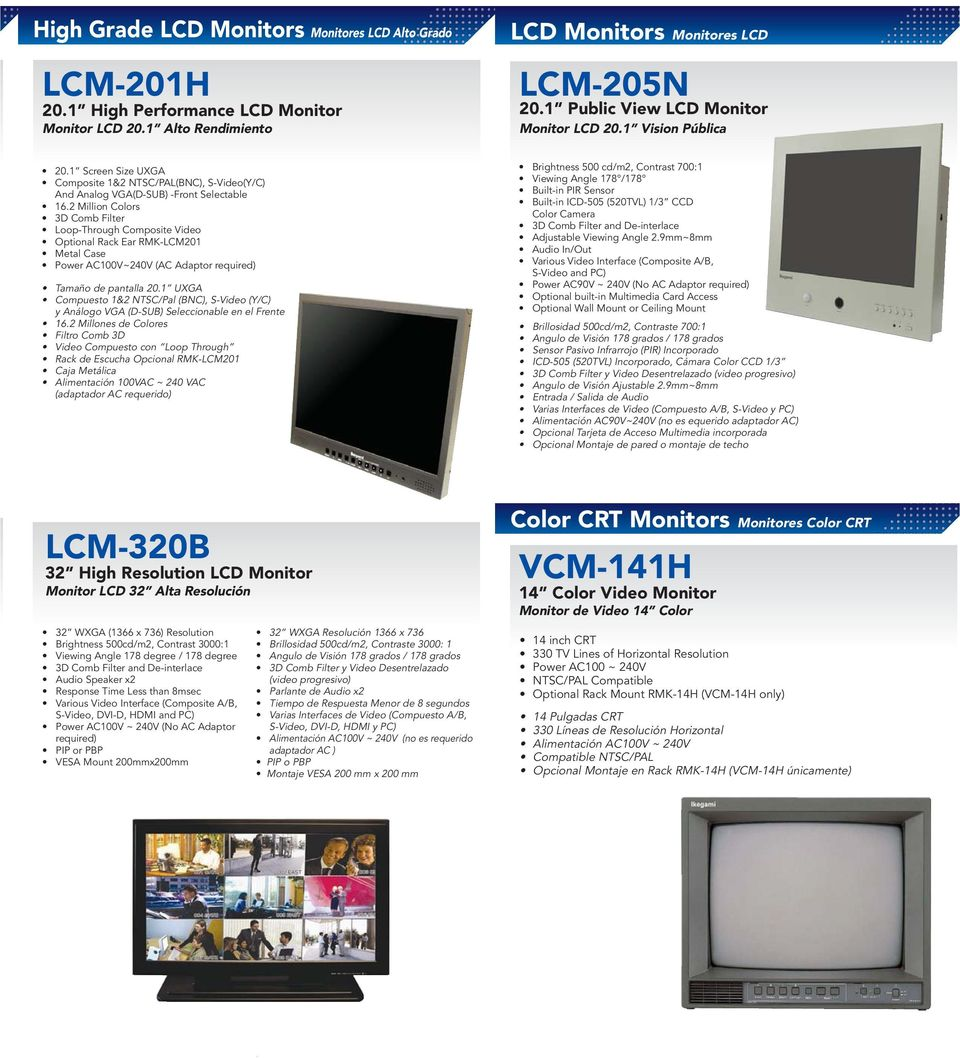 1 Alto Rendimiento LCD Monitors Monitores LCD LCM-205N 20.
