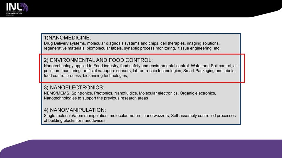 Water and Soil control, air pollution monitoring, artificial nanopore sensors, lab-on-a-chip technologies, Smart Packaging and labels, food control process, biosensing technologies, 3)