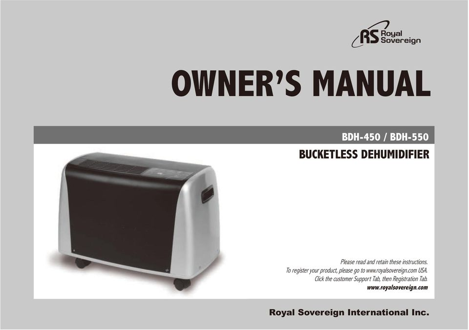 To register your product, please go to www.royalsovereign.com USA.