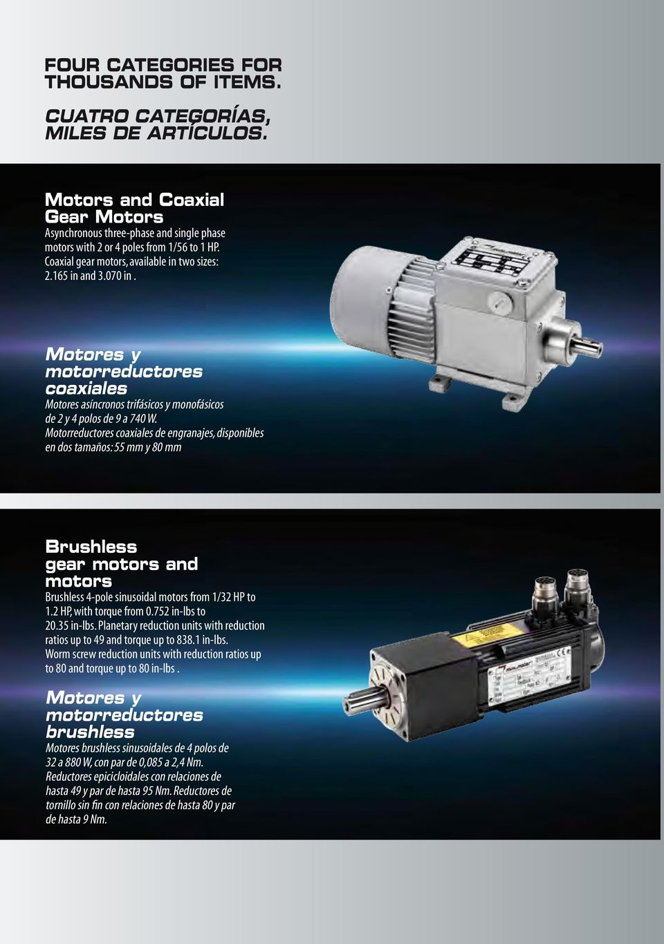 Motorreductores coaxiales de engranajes, disponibles en dos tamaños: 55 mm y 80 mm Brushless gear motors and motors Brushless 4-pole sinusoidal motors from 1/32 HP to 1.2 HP, with torque from 0.