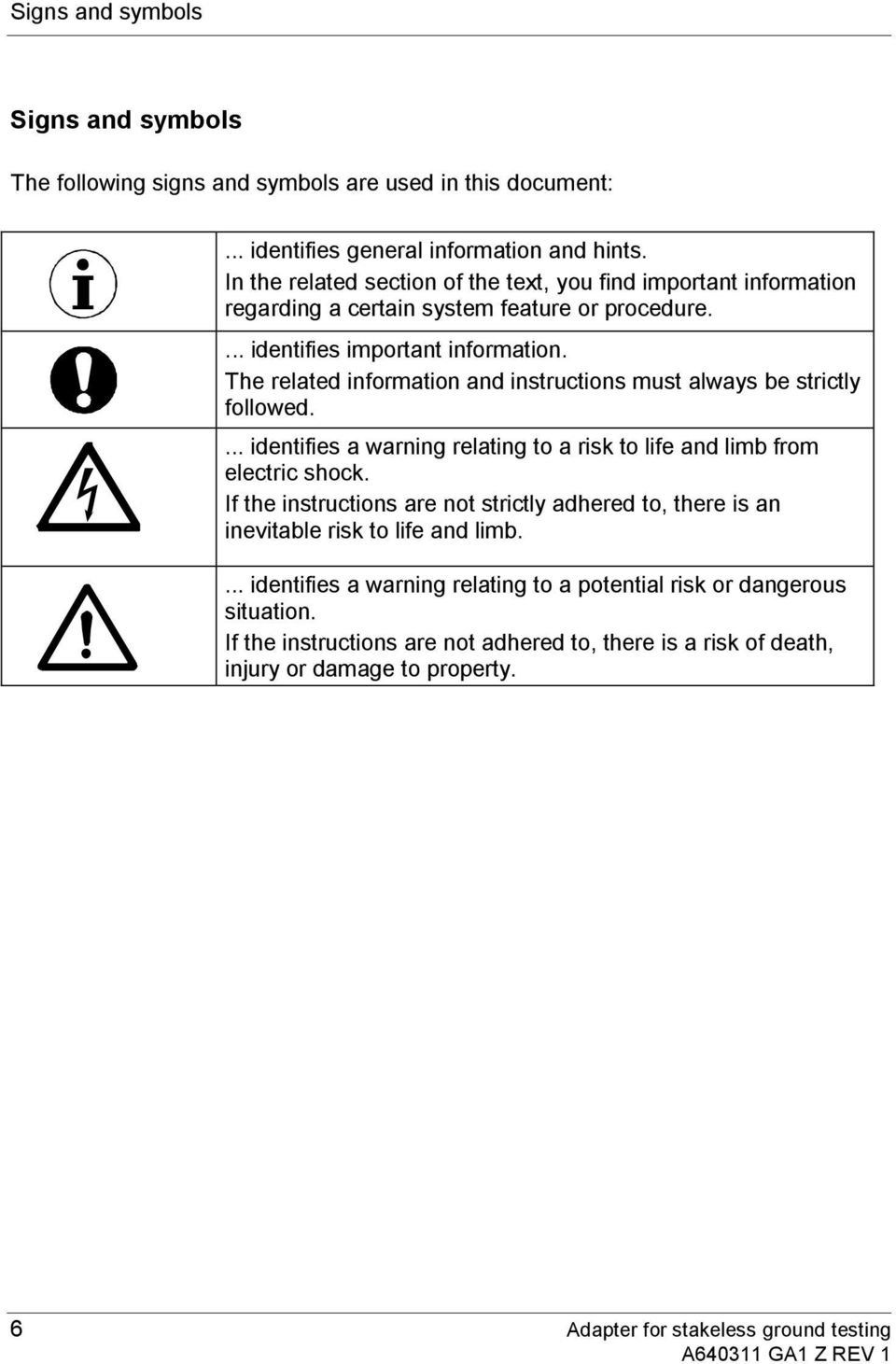 The related information and instructions must always be strictly followed.... identifies a warning relating to a risk to life and limb from electric shock.