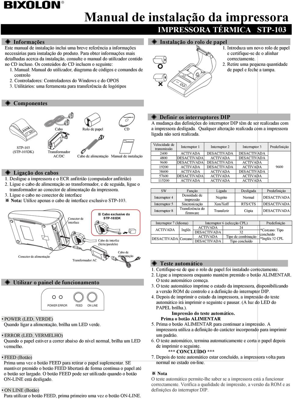 Manual: Manual do utilizador, diagrama de códigos e comandos de controlo 2. Controladores: Controladores do Windows e do OPOS 3.