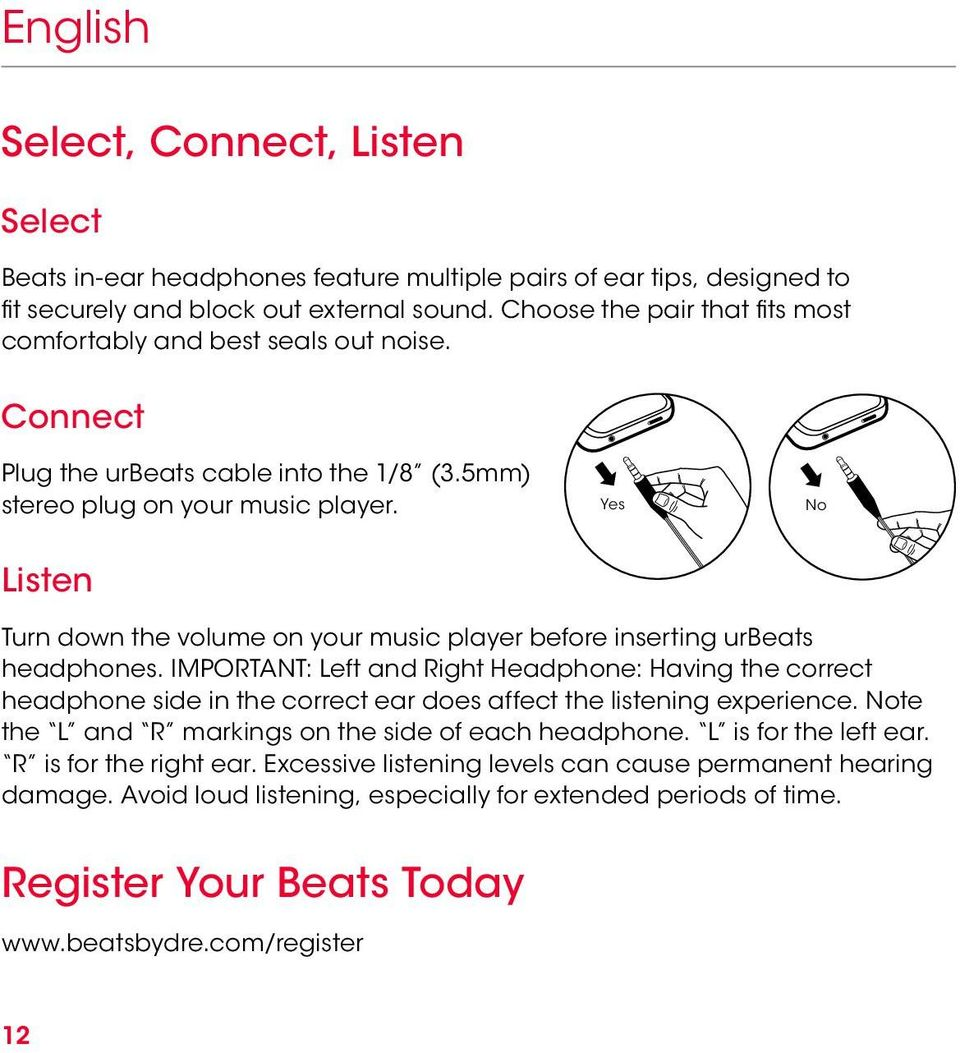 Yes No Listen Turn down the volume on your music player before inserting urbeats headphones.
