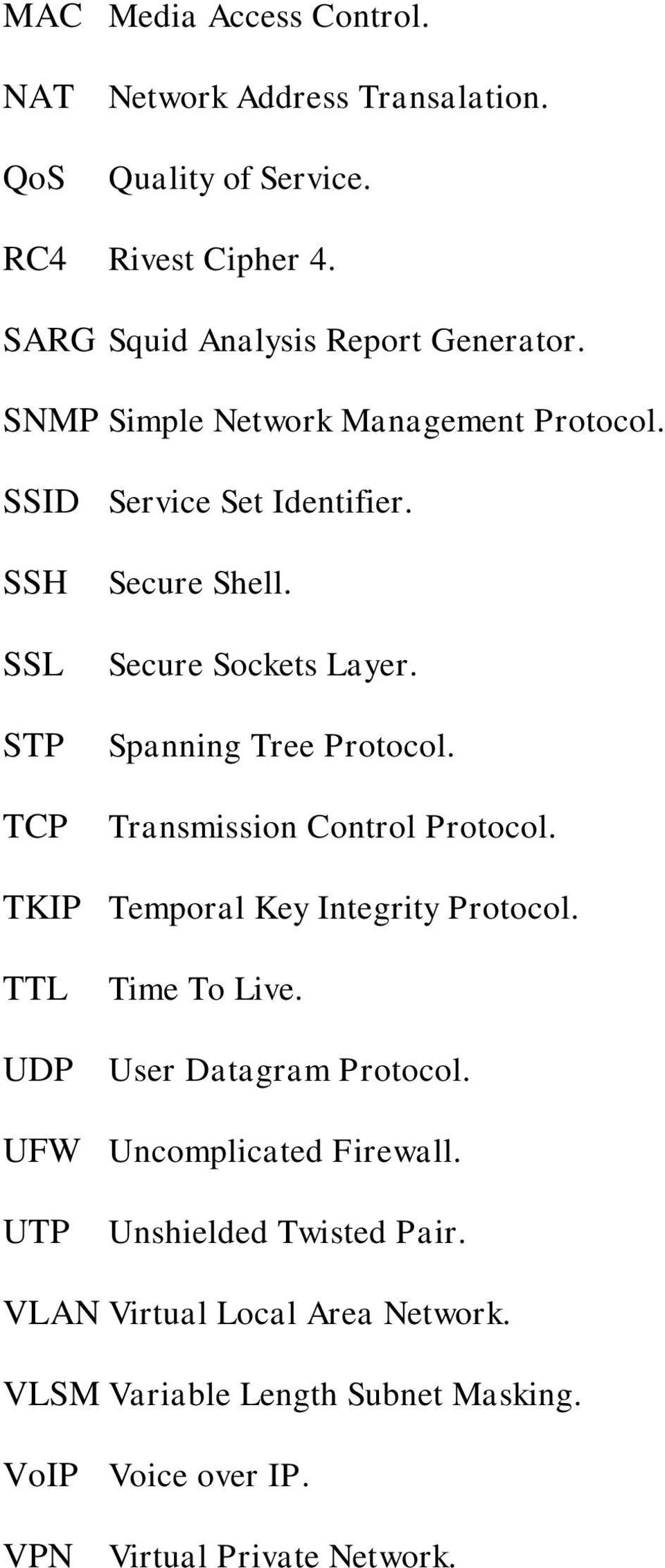 Transmission Control Protocol. TKIP Temporal Key Integrity Protocol. TTL Time To Live. UDP User Datagram Protocol. UFW Uncomplicated Firewall.
