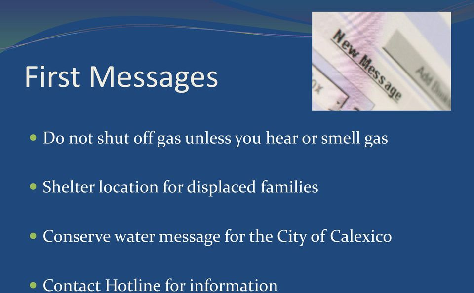 displaced families Conserve water message for