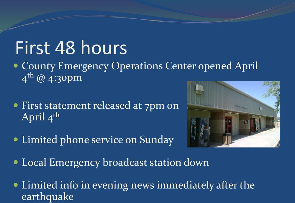 Limited phone service on Sunday Local Emergency broadcast