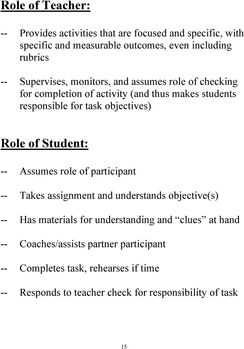 Role of Student: -- Assumes role of participant -- Takes assignment and understands objective(s) -- Has materials for understanding and