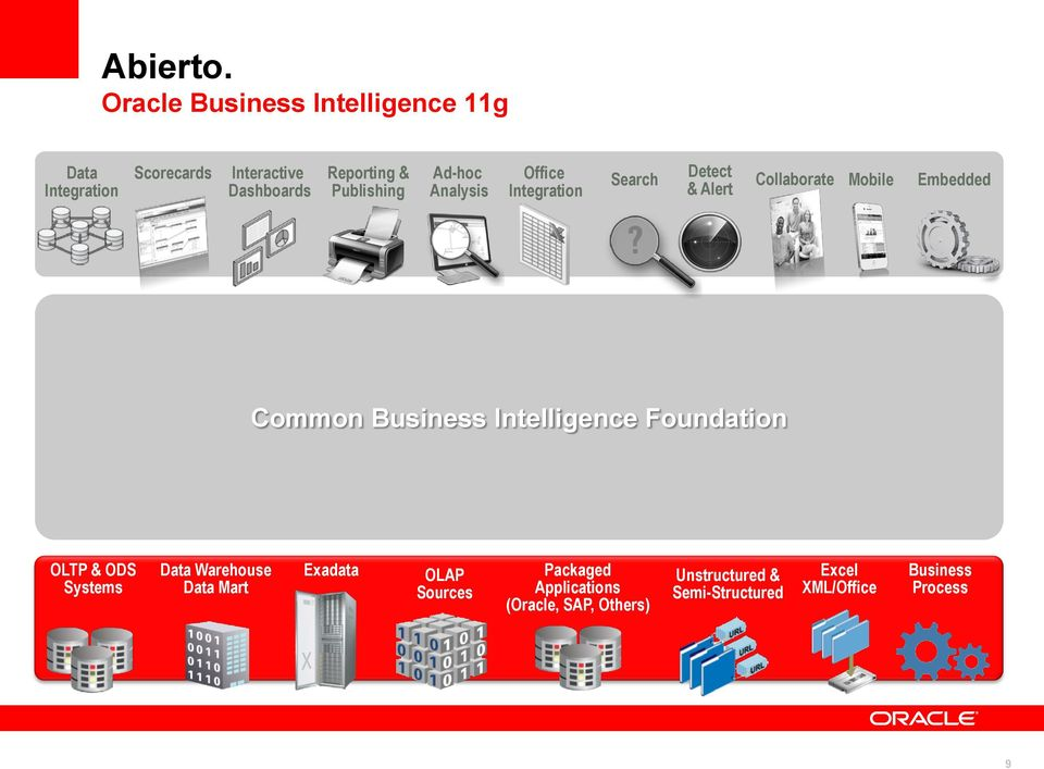 Publishing Ad-hoc Analysis Office Integration Search Detect & Alert Collaborate Mobile Embedded Common