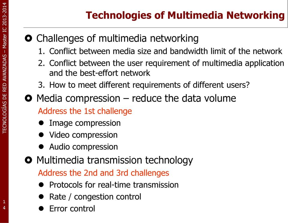Conflict between the user requirement of multimedia application and the best-effort network 3.