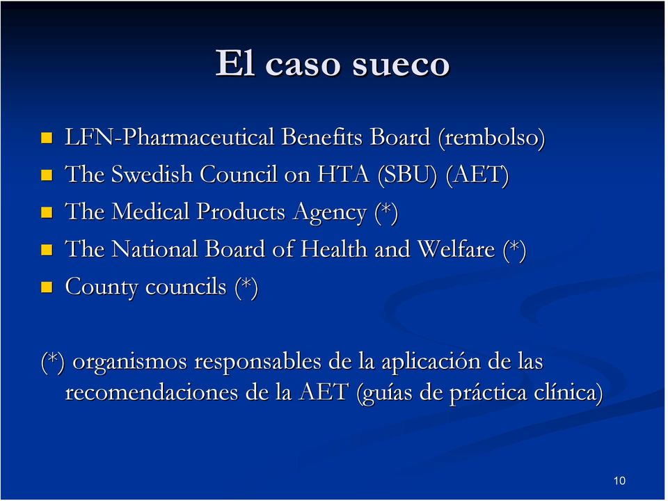 Health and Welfare (*) County councils (*) (*) organismos responsables de la