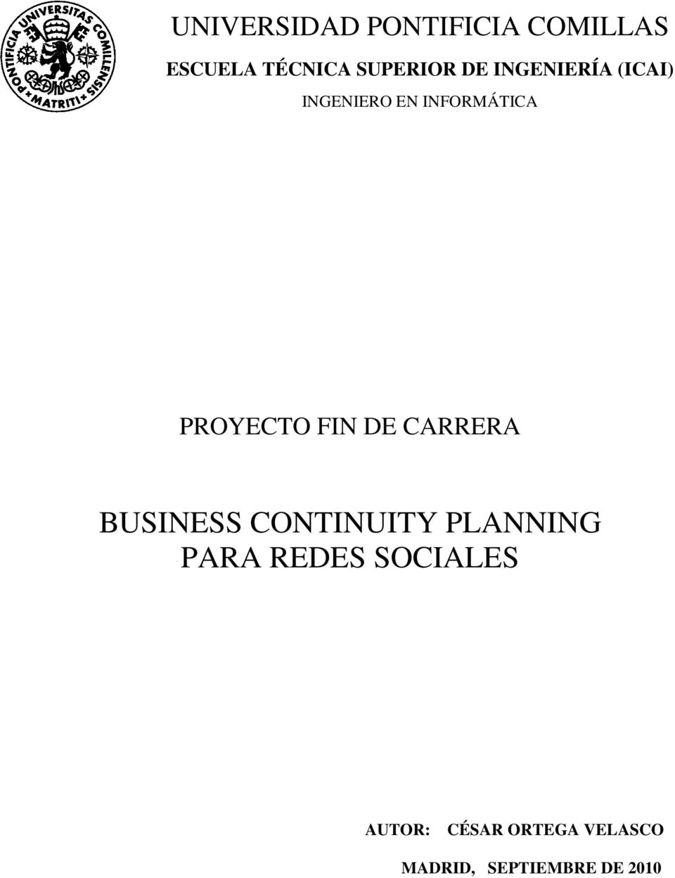 FIN DE CARRERA BUSINESS CONTINUITY PLANNING PARA REDES