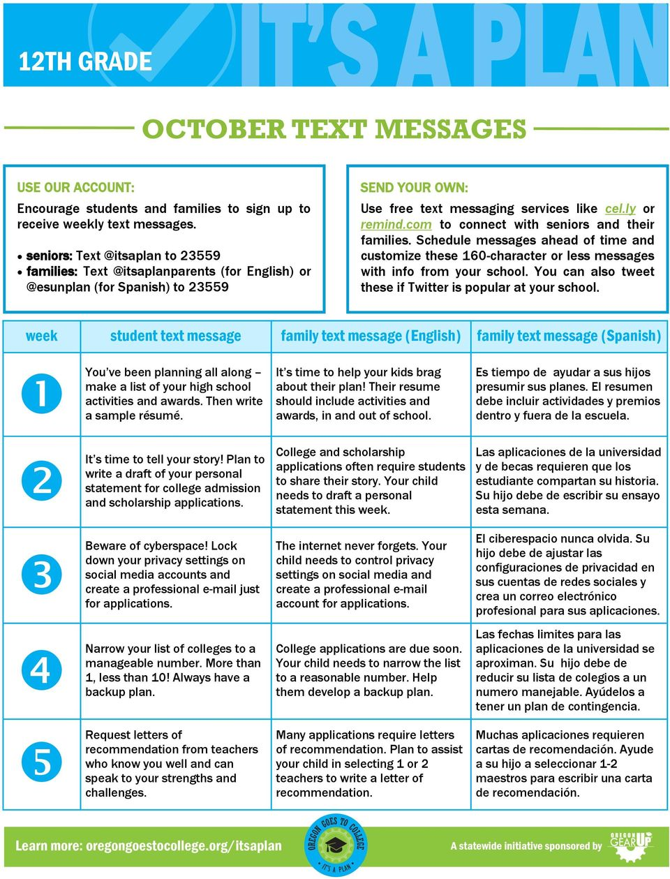 com to connect with seniors and their families. Schedule messages ahead of time and customize these 160-character or less messages with info from your school.