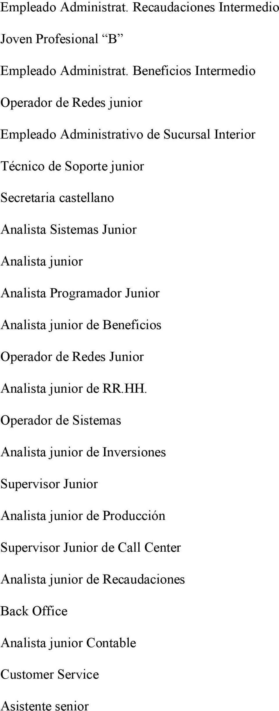 Sistemas Junior Analista junior Analista Programador Junior Analista junior de Beneficios Operador de Redes Junior Analista junior de RR.HH.