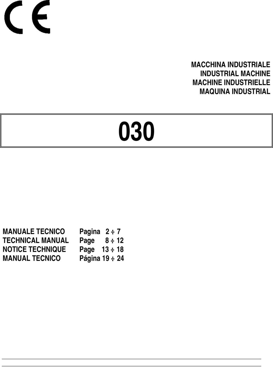TECNICO Pagina 2 7 TECHNICAL MANUAL Page 8 12