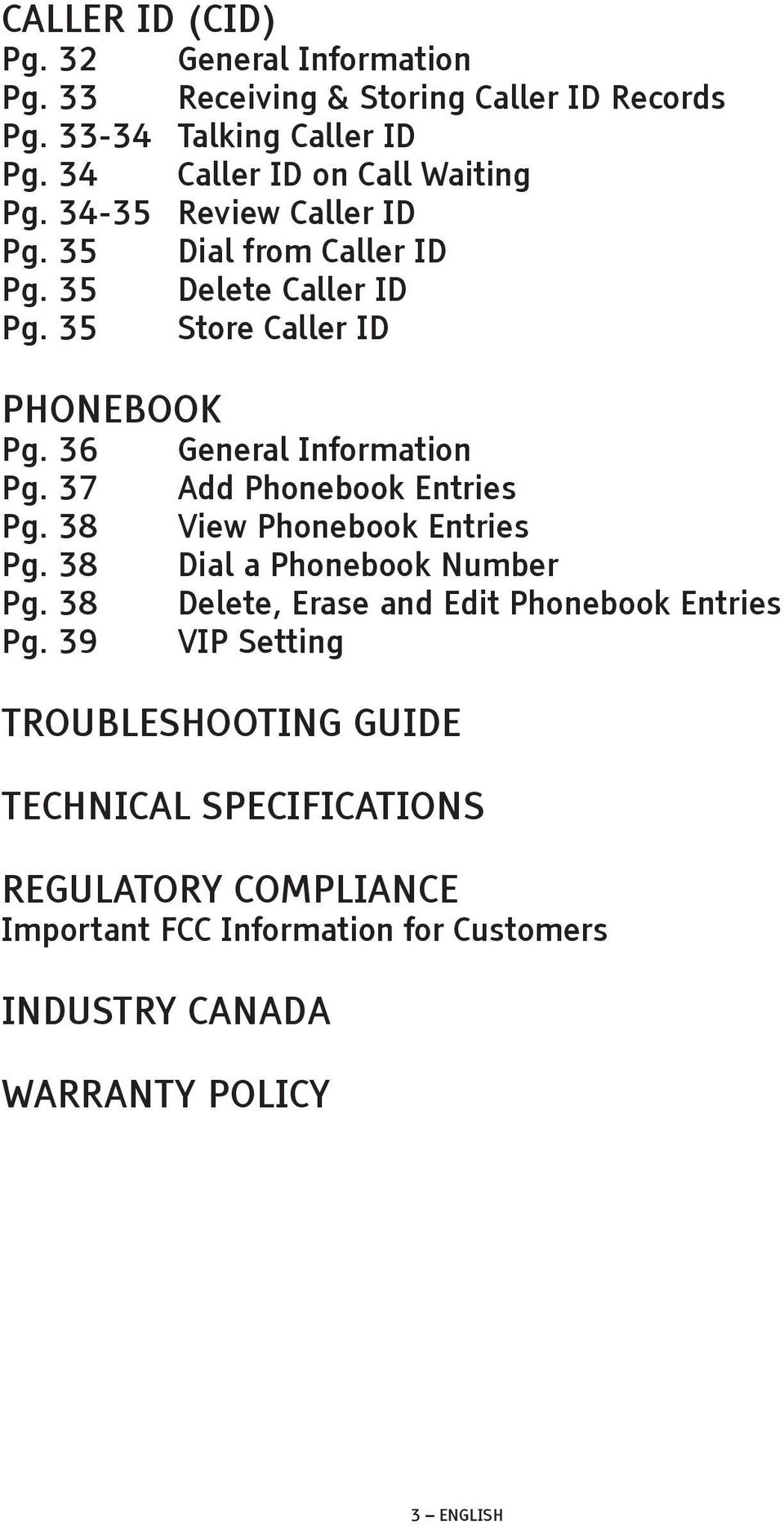 36 General Information Pg. 37 Add Phonebook Entries Pg. 38 View Phonebook Entries Pg. 38 Dial a Phonebook Number Pg.