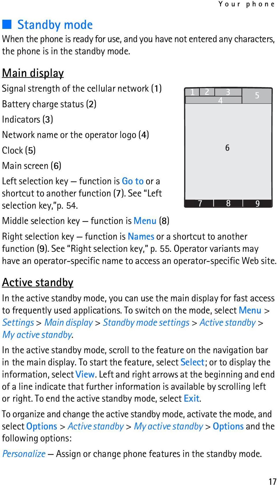 or a shortcut to another function (7). See Left selection key, p. 54. Middle selection key function is Menu (8) Right selection key function is Names or a shortcut to another function (9).