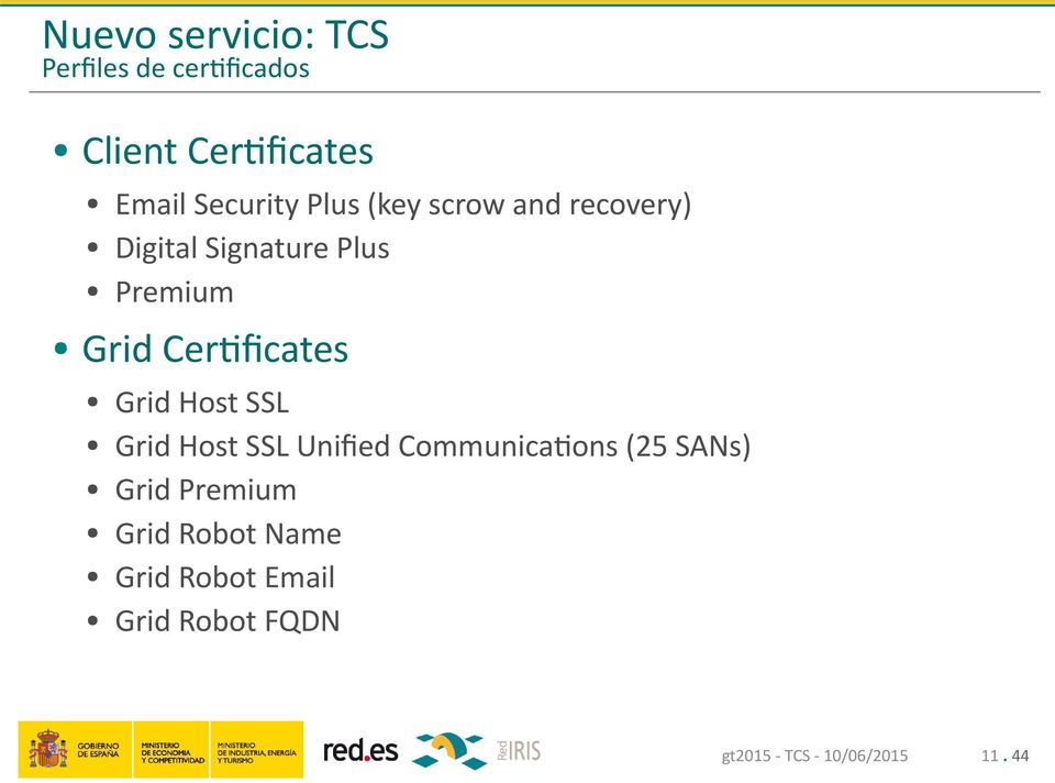 Grid Certificates Grid Host SSL Grid Host SSL Unified Communications