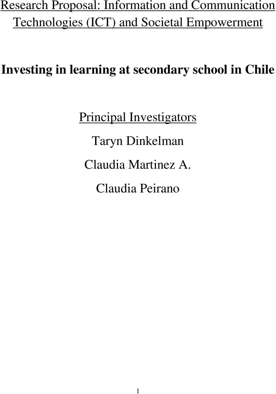 in learning at secondary school in Chile Principal