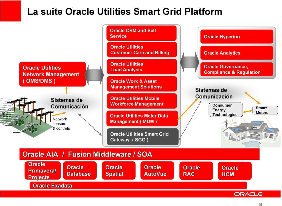 Meter Data Management ( MDM ) Oracle Utilities Smart Grid Gateway ( SGG ) Oracle Hyperion Oracle Analytics Oracle Governance, Compliance & Regulation Sistemas de Comunicación