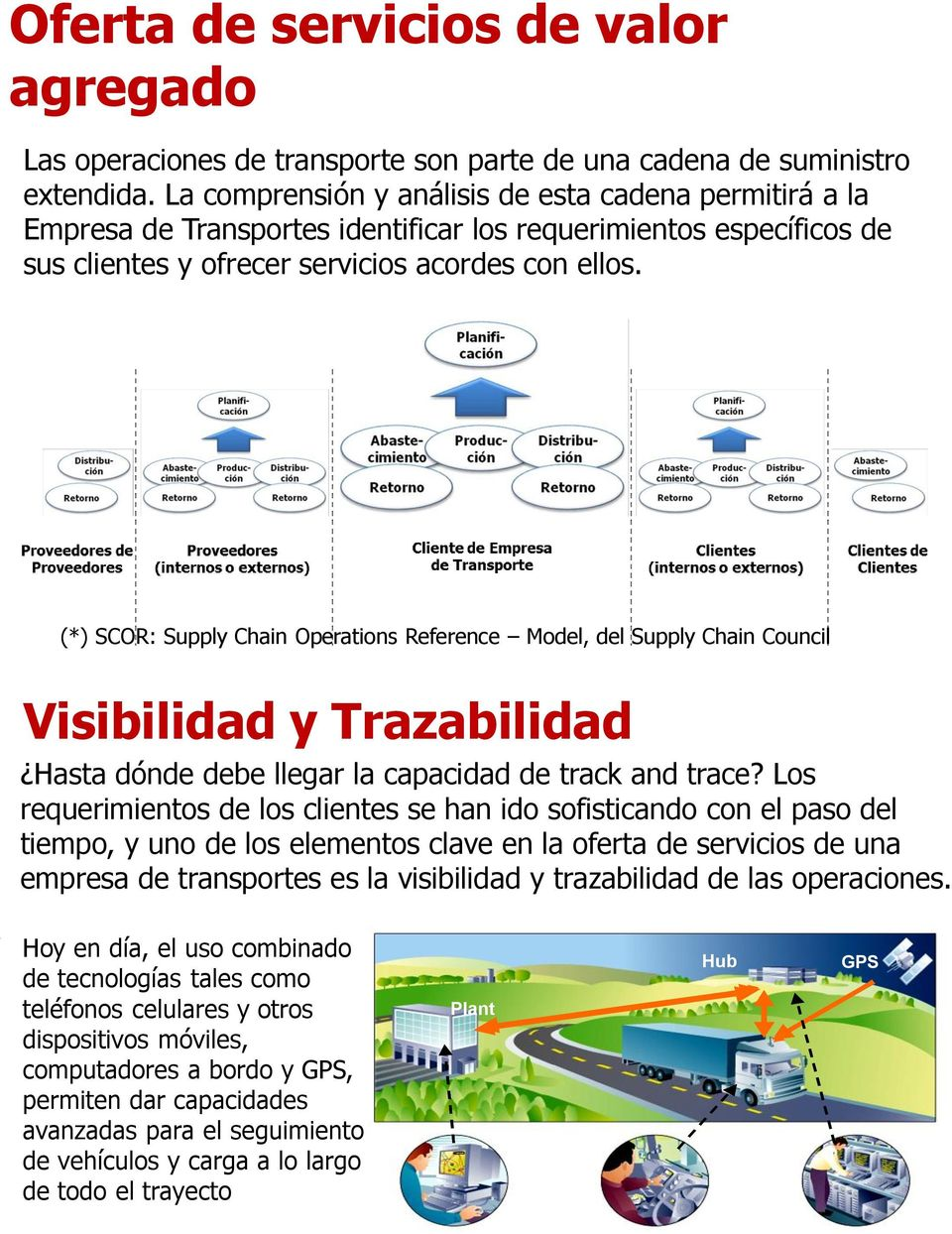 (*) SCOR: Supply Chain Operations Reference Model, del Supply Chain Council Visibilidad y Trazabilidad Hasta dónde debe llegar la capacidad de track and trace?