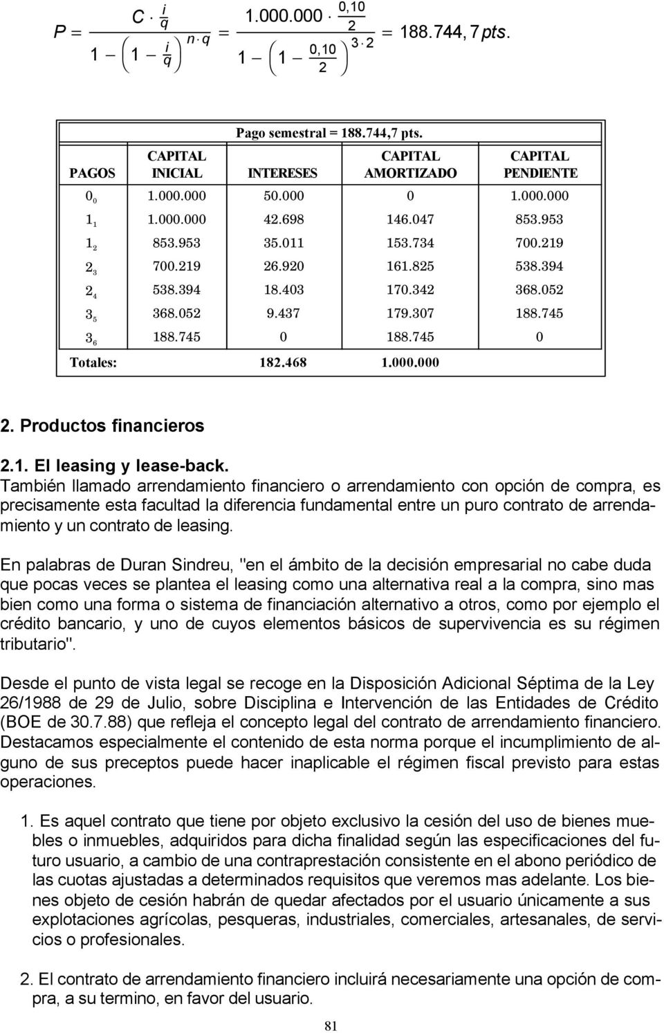 468 1.000.000 2. Productos financieros. 2.1. El leasing y lease-back.