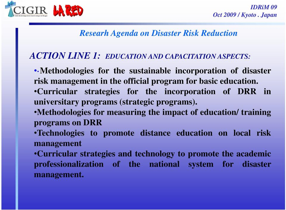 Curricular strategies for the incorporation of DRR in universitary programs (strategic programs).